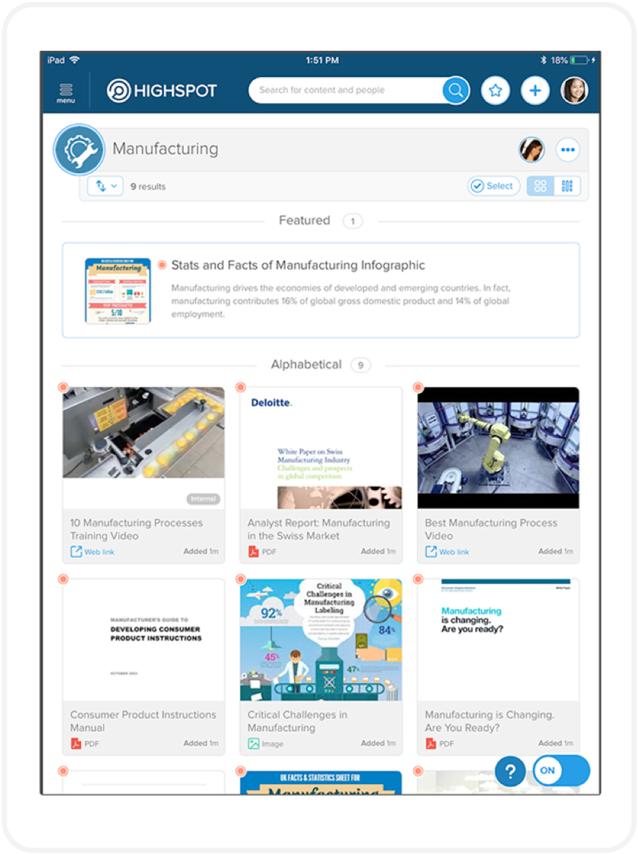 manufacturing sales enablement features